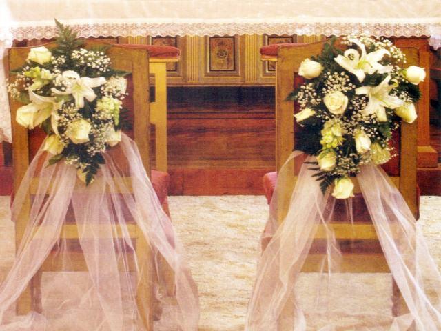 de arreglos florales para sillas o altar, venta de centros de mesa