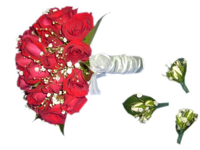 Ramo de novia y corona de novia con flores para fiestas.